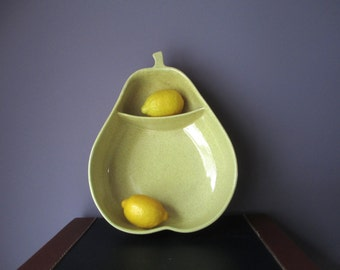 Vintage Pfaltzgraff Pear Shape Yellow Speckled  Divided Serving Bowl Piece Chip and Dip  Gorgeous