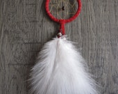 Dream Catcher Red Suede with Rare Turkey Fluffs ~ Car Mirror