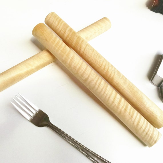 Handmade curly maple rolling pin, brilliant figure