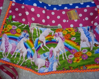 Unicorns and Rainbows vendor apron / unicorns and raInbows server apron / unicorn craft apron / Unicorn Server apron