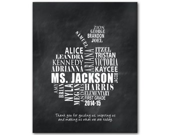 Customizable Teacher Appreciation Gift - Thank you for guiding us, inspiring us and making us what we are today - Teacher Typography Print