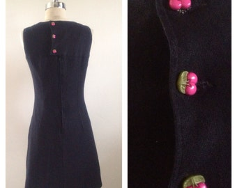 1960s Vintage Black Jumper Dress With Cherry Buttons Size M