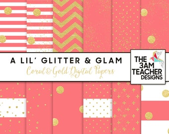 Coral and Gold Digital Papers Set