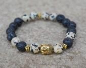 Black Mala Bracelet, Black Buddha Bracelet, Unisex Beaded Bracelet, Dalmation Spot/Lava Rock Bracelet, Stacking, Boho Buddah Bracelet