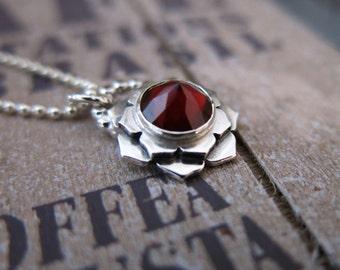 Garnet lotus pendant, lotus necklace, garnet necklace