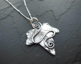 Handmade Ivy leaf pendant, Ivy leaf necklace, solid silver.