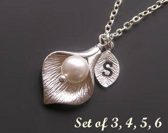 Bridesmaid gift-Set of 3, 4, 5, 6 Personalized Calla Lily necklace-Silver monogram initial Calla Lily necklace set