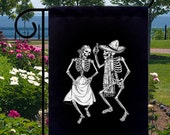 Gothic Dancing Skeletons New Small Garden Yard Flag, Day of the Dead