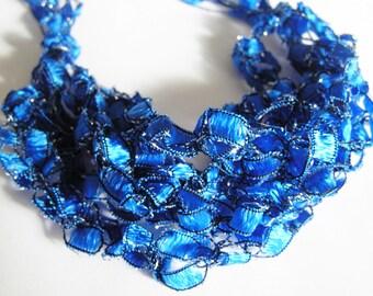 Bold Cobalt Blue Crocheted Ladder Ribbon Bracelet