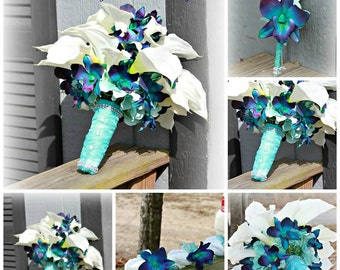 Silk-Real Touch Bridal bouquet with matching bout..