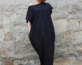 Black Maxi Dress, Cotton Knit Caftan Dress, Plus Size Dress, Beach Dress, Plus Size Clothing, Sizes S through 4X