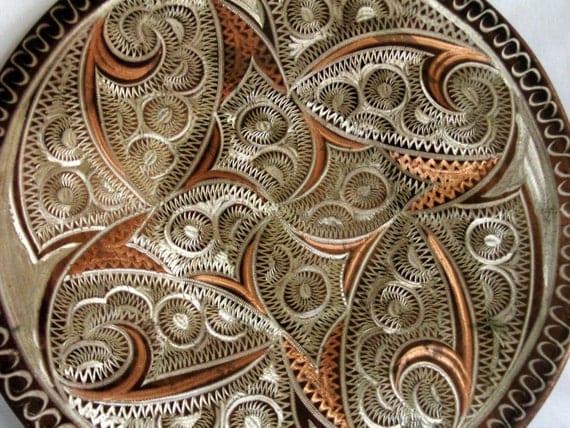 Etched Plate Vintage Copper Wall Hanging Erzincan Folk Art