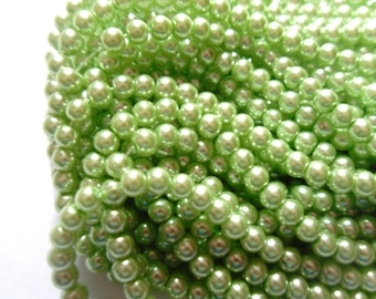 4mm Spring Green Glass Pearl Bead Strand (105 or 210 BeadS)   -CGY-5