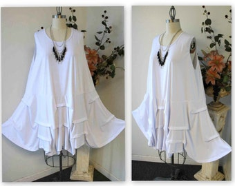 New Oversize Plus size tunic dress in lagenlook style.Designer tunic dress with details fits upto 3XL