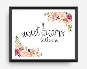 floral water color wall print art print nursery art print - sweet dreams, little one