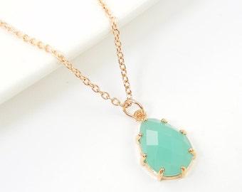 Mint Green Necklace Mint Teardrop Necklace Green Rose Gold Drop Necklace with 18 inch Rose Gold Chain |MG1-14
