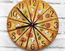 The Pizza Large Wall Clock Home Decor, food wall clocks handmade