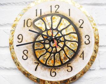 The Big Golden Ammonite Snail Wall Clock, Home Decor