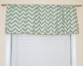 Valance Top Treatment Village Blue and Natural Chevron Valance Village Blue Valance