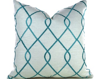 Pillow Covers ANY SIZE Decorative Pillow Cover Aqua Pillow Embroidered Pillow Duralee Rico Aqua