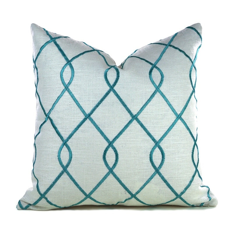 Throw Pillow Cover Measurements : Pillow Covers ANY SIZE Decorative Pillow Cover Aqua Pillow