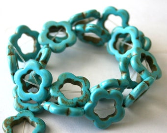Full Strand Turquoise Blue Magnesite, Turquoise Flower Bead Frames/Beads