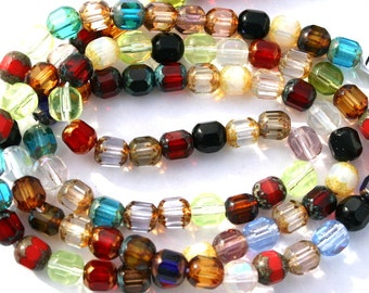 6 mm Red, Blue, Green, and More Mixed Color Czech Tube Beads