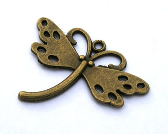 5 Charming Antique Bronze Dragonfly Charms/Pendants