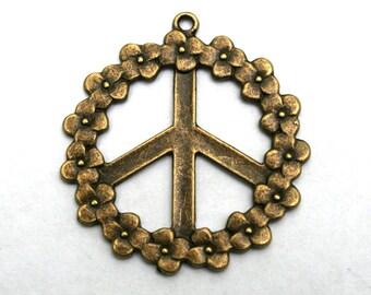 3 Antique Bronze Peace Sign/Floral  Charms/Pendants