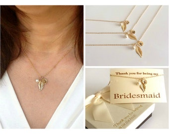 Free Shipping Set of 3 personalized gold fill leaf necklaces. bridesmaids set. Personalized, monograme necklace