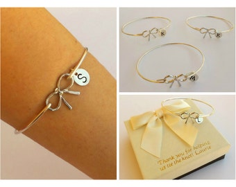 Free Shipping Set of 3 bow bangles for bridesmaids, bridesmaids bracelets, bow bangles, personalized bangles.