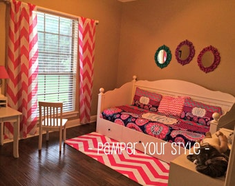 Paisley and Chevron Daybed Comforter or Duvet - Turquoise, Pink and Purple bedroom -  Personalize with Name or Monogram