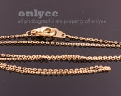 4pcs- 16inch Gold Plated solid brass 0.65mm thickness Chain for beads with Lobster Clasp (N134G)