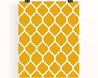 moroccan pattern print - mustard yellow wall art - home wall art - ethnic home decor - home office wall art - abstract poster