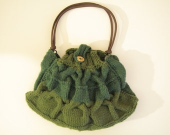 Hand Knit Cabled Bag