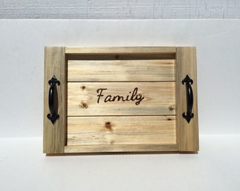 Family wood burned rustic tray, small serving tray with handles
