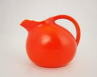 "Very Small Red Ball Pitcher - Miniature Pitcher or Creamer - 3 1/2"" Tall - White Inside - Red Outside - Pitcher for Cream, Chocolate, Etc."