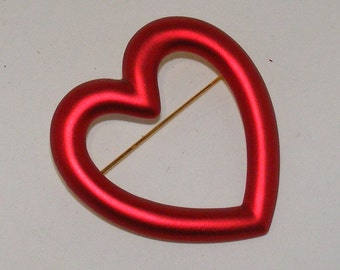 Brushed Red Heart Brooch