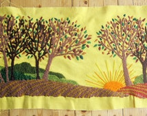 A 1960s Wool Crewelwork Scene - Autumn Leaves, Rolling Hills and Orange Sun Against Yellow -Amazingly Detailed - Hand-Stitched - Full Color