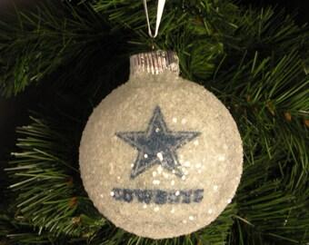 Dallas Cowboys glass glitter ornament