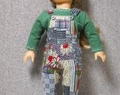Bib Overalls in Corduroy Garden Patchwork for American Girl Dolls