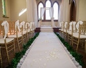 DIY Lace Ivory Wedding Aisle Runner with Custom Monogram Initials- Ivory Canvas-Classic Traditional Wedding Ceremony