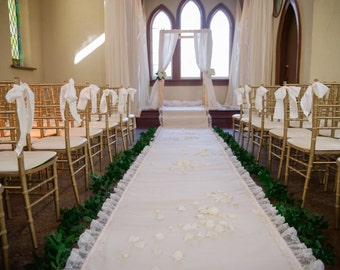 20ft Lace Ivory Wedding Aisle Runner with Custom Monogram Initials - Non-Slip, Slip Free - Ivory Canvas-Classic Traditional Wedding Ceremony