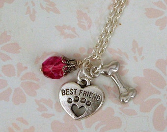 """Best Friend Necklace - Beautiful Czech Glass Crystal - Antique Silver and 2 Sided Dog Bone and """"Best Friend"""" Charm, Gift for Mother's Day"""