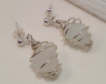 White Sea Glass Silver Post Earrings, Handcrafted Authentic Beach Glass and Sterling Silver Post Earrings, Silver Wire Wrapped Beach Jewelry