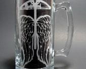 Crossbow Zombie Hunter Angel Mug - Etched Glass Beer Mug Walking Zombie Dead