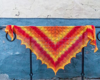 Wool lace Shawl.Hand knitted orange wool shawl.