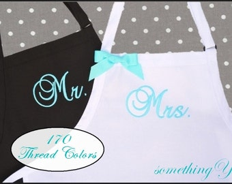 READY TO SHIP Mr. and Mrs. Wedding Apron Gift Set -Bride and Groom -His and Hers Wedding Ribbon Bow White Aqua Blue Dark Gray Pewter