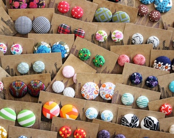 WHOLESALE Jewelry / 100 Pairs / Fabric Covered Button Earrings / Custom Order / Resale / Small Gifts / Bulk Discount / Boutique Stockist