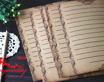 8 Sheets Vintage Lace Style Writing Paper - Stationery - Letter Paper - Brown Paper - Filofax